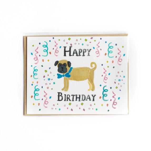 Pug confetti birthday card