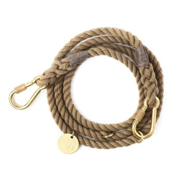 Natural rope dog leash, adjustable