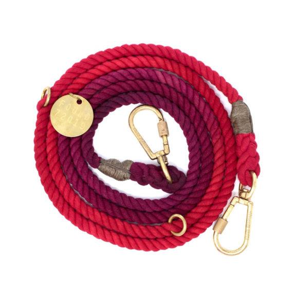 Red Solid Fade Dog Leash, Adjustable