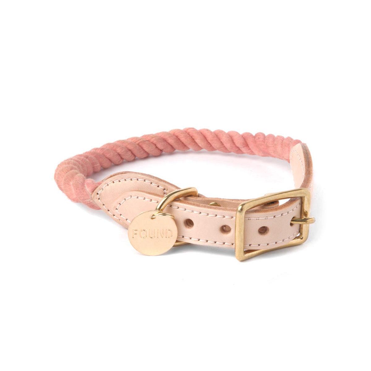 Blush cotton rope dog collar