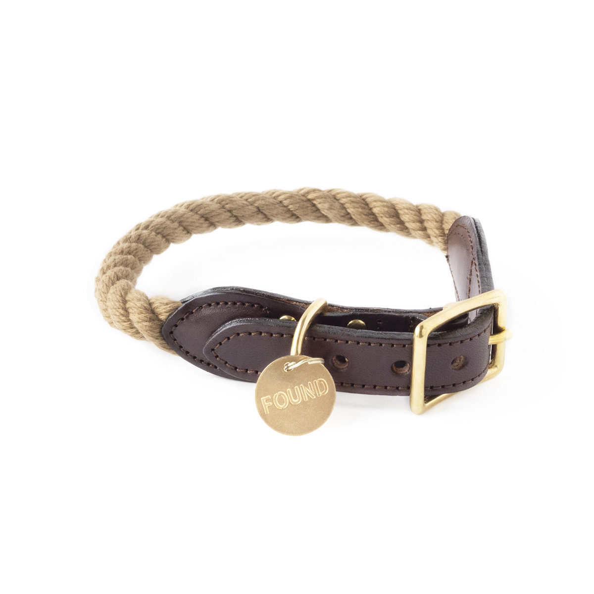 Natural rope dog collar