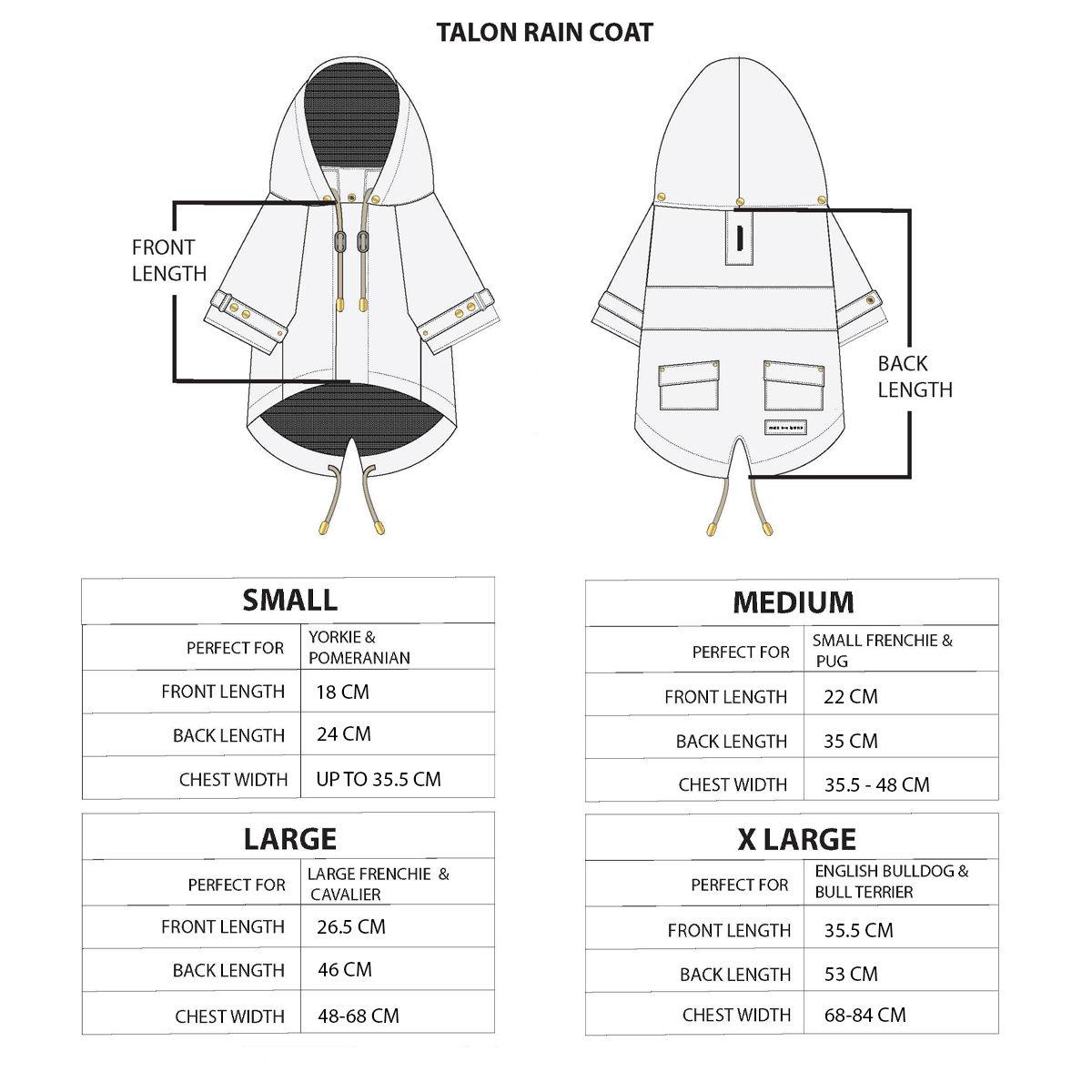 Size guide Talon coat