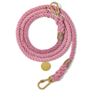 Blush cotton rope dog leash, adjustable
